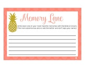 Digital Printable Memory Lane Game for Bridal Showers or Bachelorette Party with Gold Glitter Pineapple on Coral CGML002