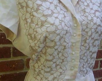 Vintage 50s 60s Cut Out Floral Sundress // Circle Skirt //Summer Dress M L