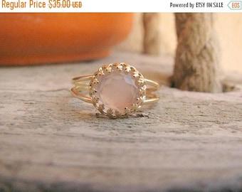 SALE - Rose Quartz ring - Gold Rose ring - Rose quartz gold ring - Rose Quartz band - Love jewelry - Gold band ring - Pink stone ring