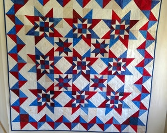 Red White And Blue Star Pieced Quilt