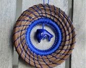 Blue Ornament Blue Dolphin Pine Needle Ornament Native American Pine Needle Coiled Ornament Blue Dolphin Ornament For Her Ornament For Him