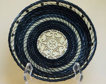 Blue Basket Navy Blue Pine Needle Basket Native American Basket For Him Basket For Her Wedding Basket Housewarming Basket Pine Coiled Basket
