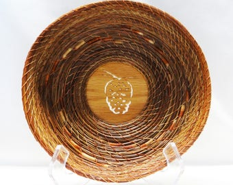 Pine Needle Basket Brown Pine Needle Basket Pinecone Basket Native American Pine Needle Coiled Basket Housewarming Basket For Him For Her