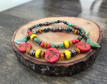 Three Little Birds Bracelet set, red, green yellow rastafarian jewelry, rasta bracelet