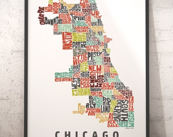 Chicago map art, Chicago art print, Chicago typography map, map of Chicago, Chicago neighborhood map, city typography map with title