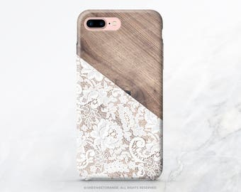 iPhone 7 Case Wood White Lace iPhone 7 Plus iPhone 6s Case iPhone SE Case iPhone 6 Case iPhone 5S Case Galaxy S7 Case Galaxy S8 Case T184