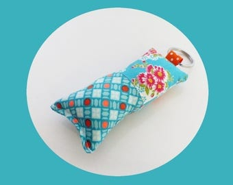 Keychain fabric Turquoise and orange neon and Turquoise flowers