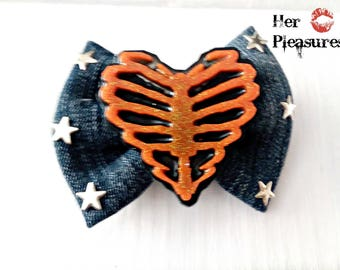 Skeleton heart Cowgirl Rancher Jean Fabric Bow with Stars