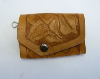 Hand Tooled Leather Key Chain, Hand Made Key Chain