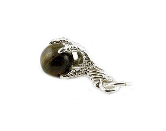 Sterling Silver American Eagle's Claw Tiger's Eye Charm For Bracelets