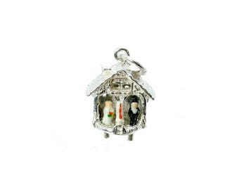 Sterling Silver Movable Enamelled Wedding Weather House Charm For Bracelets