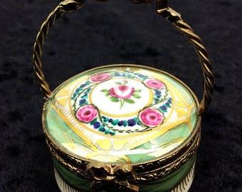 Limoges France Peint Main Hand Painted Floral China Paint Porcelain Trinket Hat Box Basket