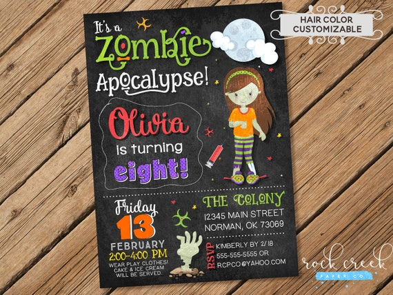 Zombie apocalypse invitation halloween birthday invitation zombie il570xn stopboris Gallery