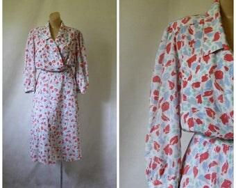Sale 1980's Dress / Vintage Dress / Vintage Wrap Dress / Floral Dress / Secretaries Dress / Spring Floral Dress / Easter Dress M/L