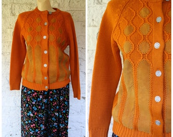 1950s Wool Cardigan / Vintage Burnt Orange Sweater / Button Front Cardigan Sweater / Suede Patch Sweater   Vintage 1950s  Tarri Sweater M/L