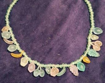 Vintage Novelty Plastic fruit necklace 1950's retro