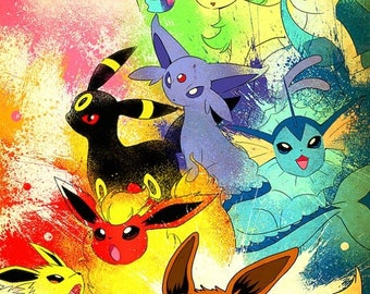 20% OFF SALE Pokemon Eeevee Evolution Poster
