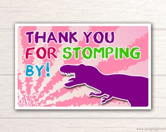 Dinosaur Thank You Card - Printable Dino Thank You Card - T Rex Themed Birthday - Party Like A Dinosaur - Thanks For Stomping By - BP77