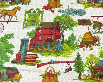 Vintage 5th Ave Designs Inc Red Barn Country Fabric 1 Yard