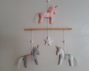 Unicorn baby mobile wall art horses and star pink gray white aqua floral