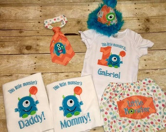 Little Monster Birthday Set Bodysuit / Hat / Tie / Diaper Cover / Mom and Dad Shirts / High Chair Banner or Wall Hanger