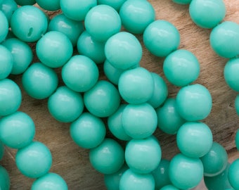 Turquoise 6mm Czech Druk, 4325, Turquoise 6mm Smooth Round Druk Beads, 25 Beads