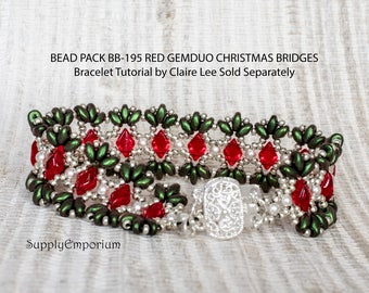 Bead Pack BB-195 Christmas Bridges Bracelet 2, Tutorial by Claire Lee Sold Separately, BB195 Christmas Bridges Bracelet 2 Bead Pack