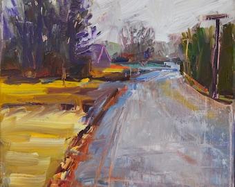 A rainy day, Modern impressionist landscape, neutral colors, Original landscape painting in oil, Autumn landscape, Rustic decor, New England