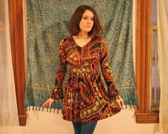60's Psychedelic Flower Power Mini Dress