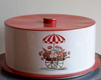 Vintage Decoware Cake Tin - Flower Cart with Umbrella - Red