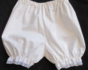 White Diaper cover, 18M Bloomers ,Baby Girls,100% cotton ,w/ soft polyester lace