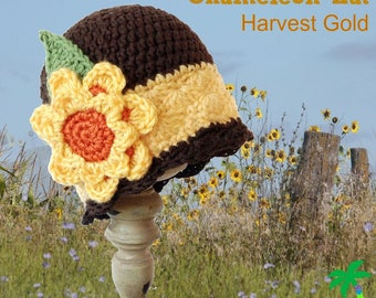 Crochet Pattern for cloche hat, Harvest Gold Hat, Witch Hat, Fall Hat,  PDF 14-132