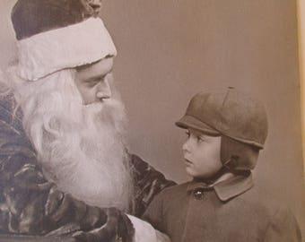 Boy Visit w Santa 1940's Black White Photo Worcester Massachusetts in Folder