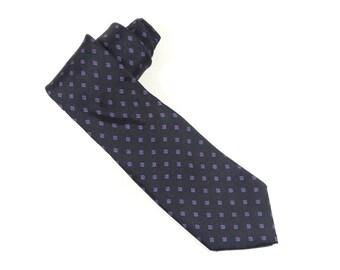 Liberty of London Navy Blue Silk Tie - Diamond Pattern Vintage Liberty Silk Tie Menswear Necktie