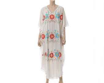 Vintage 70s Mexican Sheer White and Rainbow Floral Embroidered Caftan Dress 1970s Lace Muumuu Hippie Boho Festival Maxi Dress / Free Size