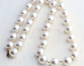 "Vintage Faux Pearl Necklace - Made in 1950's Japan, 9"" or 14.5"" long - 1 Necklace"