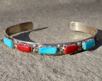 Native American Turquoise Coral Cuff,Zuni Turquoise Cuff,Signed Zuni Jewelry,Vintage Turquoise Coral Jewelry,Turquoise Coral Cuff Bracelet