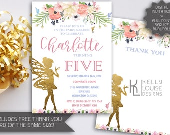 Gold Fairy Garden Party Birthday Invitation | Fairy Party | Tinkerbell Invitation | Garden Fairy Party | Fairy Printable Invitation (081)