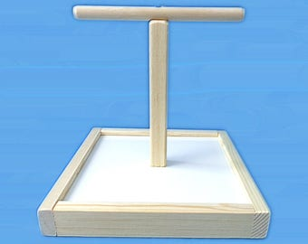 "Bird T-Perch Stand With 10"" x 10"" base-Hand Made Bird Perch"