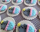 "12 Fondant edible cupcake toppers - ""Pusheen the cat"" inspired cupcake toppers, fondant cat, animals, pet, kitty, cartoon,mermaid,unicorn"