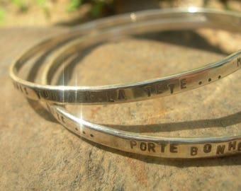 Customizable message in 925 sterling silver Bangle Bracelet.