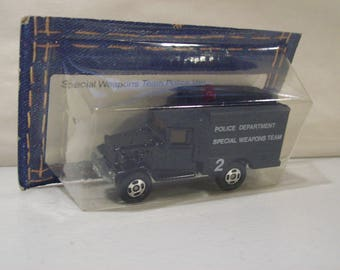 Vintage Tomy Pocket Cars Die-cast Toyota Police Special Weapons Truck, Japan, 1/81 Scale, 1978, On Card Bottom, Tomica