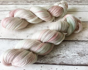 Silk Lace in Mother of Pearl: Naturally hand-dyed Lace weight yarn in 25 Micron Superwash Merino and Silk 100g / 800m