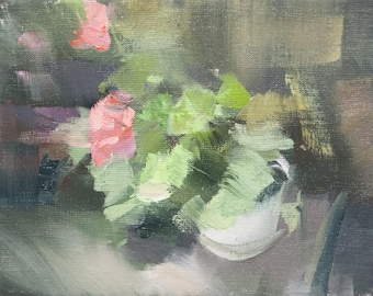 Abstract Painting, Pink Green Wall Art, Gift for Her, Contemporary Flower Painting on Canvas Oil Art
