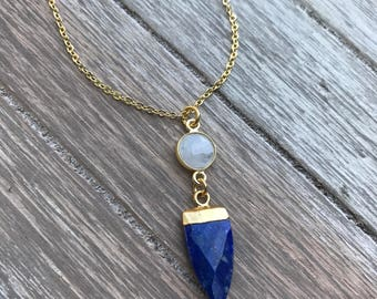 Lapis, Gold, & Moonstone Point Necklace