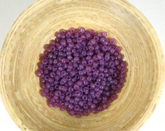 Vintage French Opalescent Non Fading Red-Violet Purple Glass size 9/0 Seed Beads 10 grams