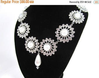 SALE SALE Vintage Inspired Rhinestone Pearl Bridal Statement Necklace, Wedding Necklace