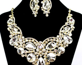 SALE SALE Gold Bridal Necklace, Chunky Crystal Bridal Statement Necklace, Gold Crystal Necklace,Crystal Evening Necklace E - 115