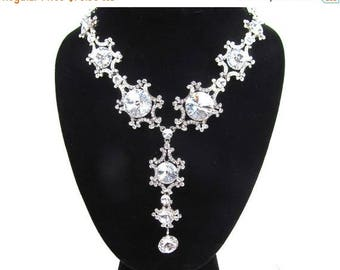 SALE SALE Crystal Rhinestone Drop Statement Bridal Necklace, Wedding Necklace, Evening Necklace