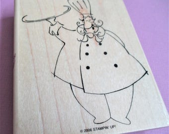 Large Papercraft Rubber Stamp Chef Culinary Theme Wood Mounted Art Craft Supplies Stamping Scrapbooking Cardmaking Planner Party Invitation